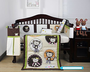 Bumble Bee Bee Natural Monkey Business 7pcs Embroidery Crib Set