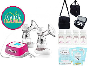 Malish Ilaria Double Electric Breast Pump + Autumnz POSH Cooler Bag + Autumnz Reusable Ice Pack (3pcs)+ Autumnz Breastmilk Storage Bottles (4pcs)