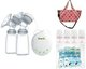 Treenie Kompakto Electric Double Breastpump+Jingle Jungle Radiant Cooler Tote Crossbody +Jingle Jungle Mom's Love Reusable Ice Pack (3pcs) +Autumnz Breastmilk Storage Bottles 4pcs